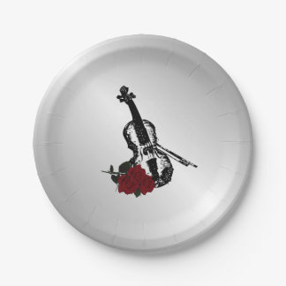 Violin and Roses Silver Paper Plate