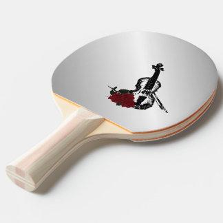 Violin and Roses Silver Ping Pong Paddle