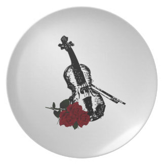 Violin and Roses Silver Plate