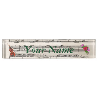 Violin and Roses Vintage Sheet Music Nameplate