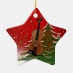 Violin at Christmas Ornament