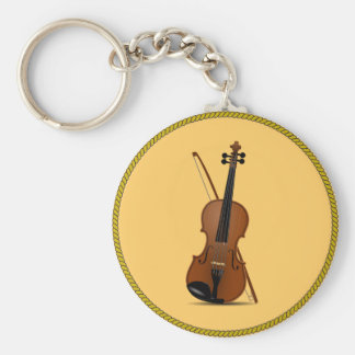 Violin Basic Round Button Key Ring