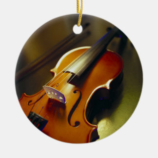 Violin & Bow Close-Up 2 Ceramic Ornament