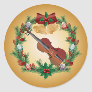 Violin Christmas Music Wreath Stickers