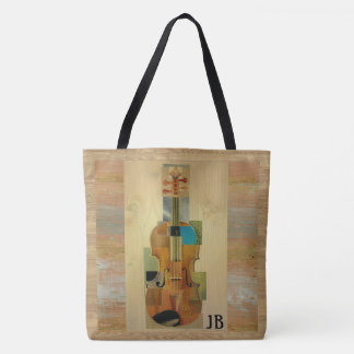 Violin Composition Wood Grain Effect with Initials Tote Bag