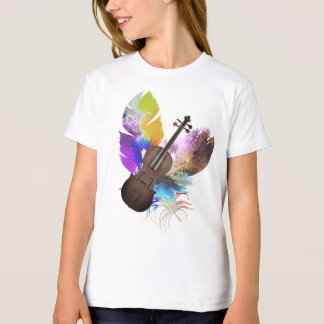 Violin Feather Watercolor T-Shirt