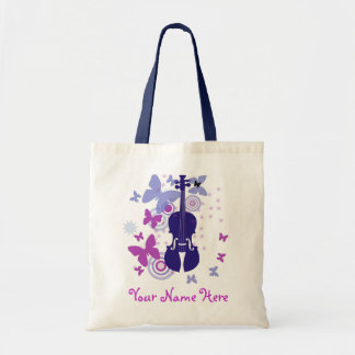Violin Flutter Tote with Your Own Name Budget Tote Bag