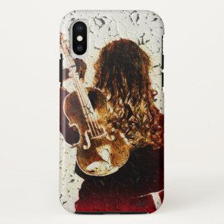 Violin Girl Dark Red Dress Golden Brown Hair Music iPhone X Case