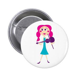 Violin Girl Gift Button
