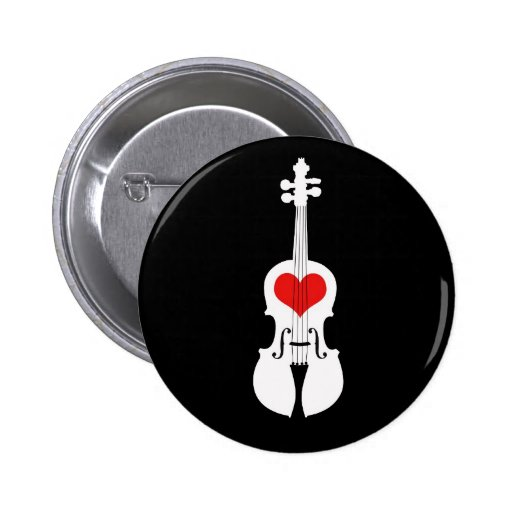 Violin Graphic Black and White with Red Heart Pins