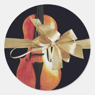 Violin Holiday Round Sticker