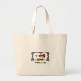 violin in a frame with petals large tote bag