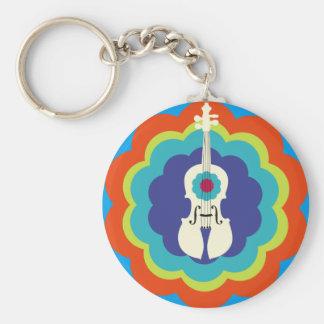 Violin Key Chain -- 60s Color Burst