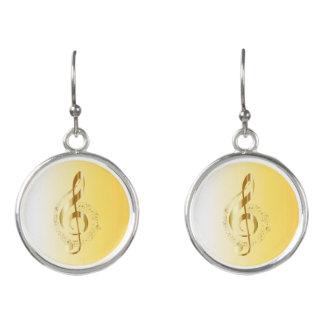 Violin key earrings