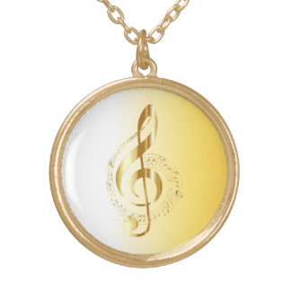 Violin key gold plated necklace