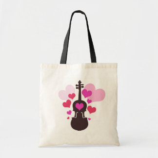 Violin Love and Hearts Tote Bag