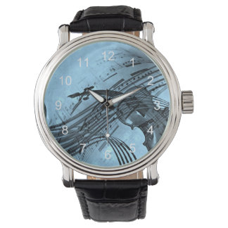 Violin Music Design in Light Blue Watch