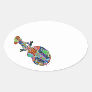 VIOLIN Music Insrument Abstract Colorful Art fun Oval Sticker