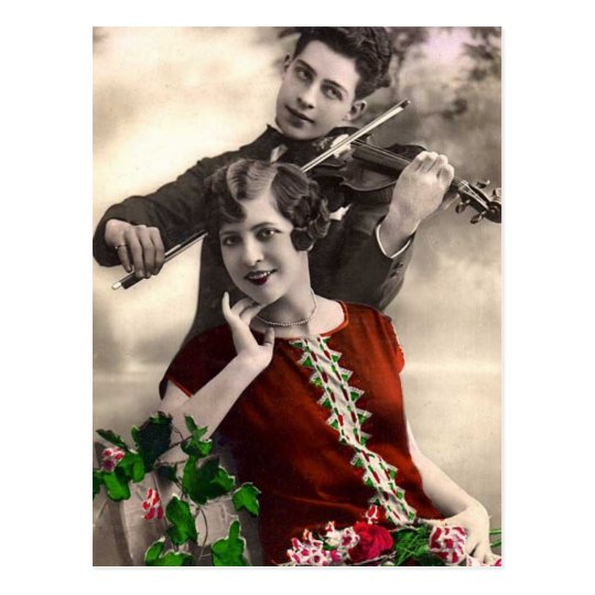 Violin Music Played by Vintage Musician Postcard