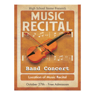 Violin Music Recital 21.5 Cm X 28 Cm Flyer