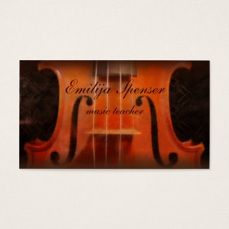 Violin Music Tutor Classy Business Card