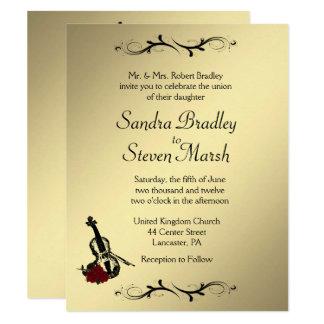 "Violin Music Wedding Invitation 4.25"" x 5.5"""