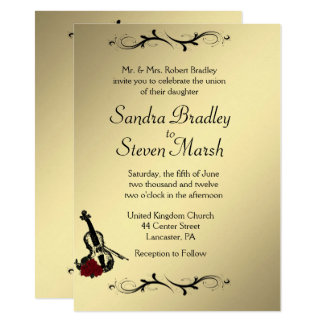 "Violin Music Wedding Invitation  4.5"" x 6.25"""