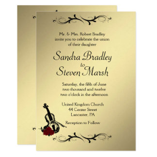 "Violin Music Wedding Invitation  5"" x 7"""