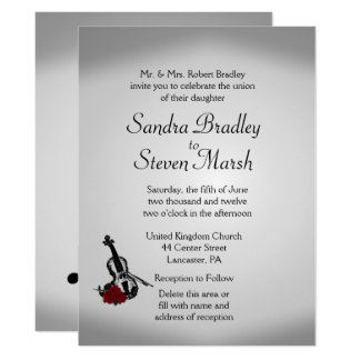 "Violin Music Wedding Invitation 6.5"" x 8.75"""
