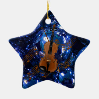 Violin on Christmas Blue Baubles Ceramic Ornament