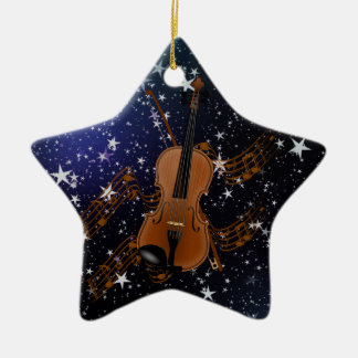 Violin on Starry Sky Ceramic Ornament