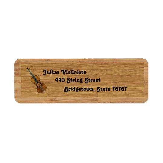 Violin on Woodgrain Background Return Address Label