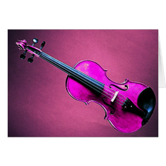 Violin or Viola Greeting or Note Card Pink