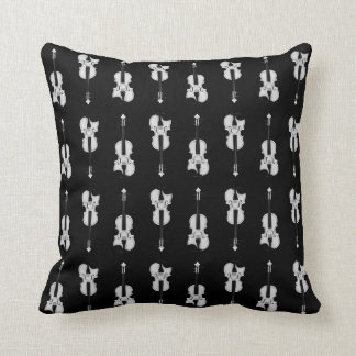 Violin Pattern - Black and White Cushion