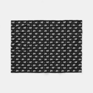 Violin Pattern - Black and White Fleece Blanket