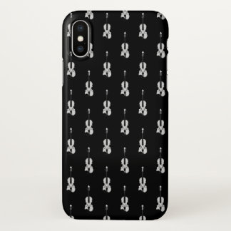Violin Pattern - Black and White iPhone X Case