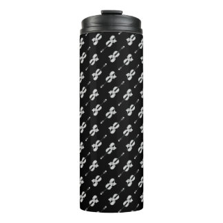 Violin Pattern - Black and White Thermal Tumbler