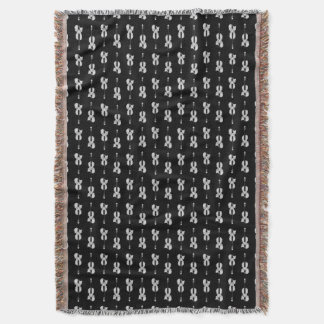 Violin Pattern - Black and White Throw Blanket