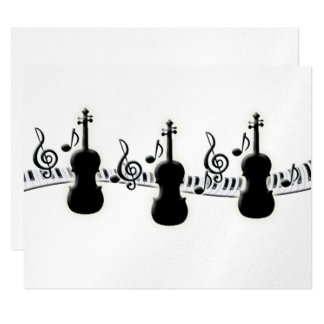 Violin Piano Keyboard and Music Notes 11 Cm X 14 Cm Invitation Card