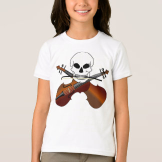 Violin Pirate Skull Funny Music Gift T-Shirt