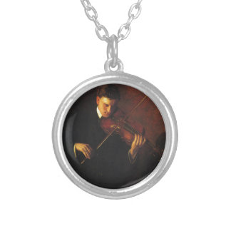 Violin Player Silver Plated Necklace