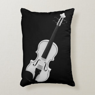Violin Portrait - Black and White Photograph Decorative Cushion