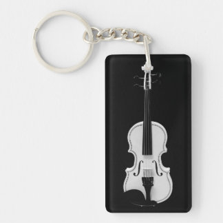 Violin Portrait - Black and White Photograph Key Ring