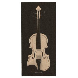 Violin Portrait - Black and White Photograph Wood USB 3.0 Flash Drive