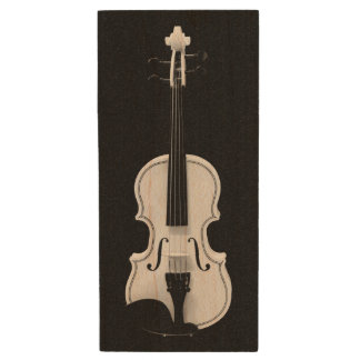Violin Portrait - Black and White Photograph Wood USB Flash Drive