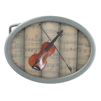 Violin ~ Rolled Sheet Music Background ~ Musical Belt Buckle