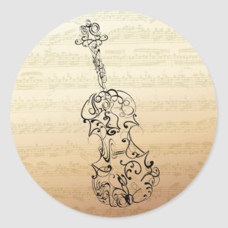 Violin Scrawl on Bach Manuscript Classic Round Sticker