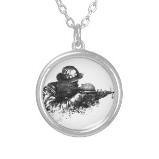 violin sniper silver plated necklace