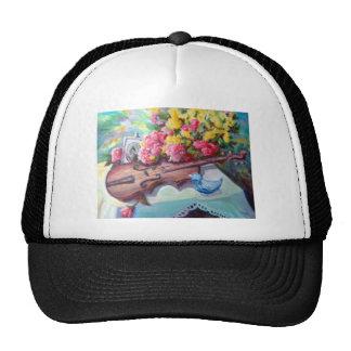 Violin still life painting hat