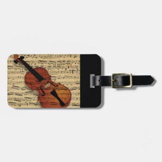 Violin Vintage Music Luggage Tag